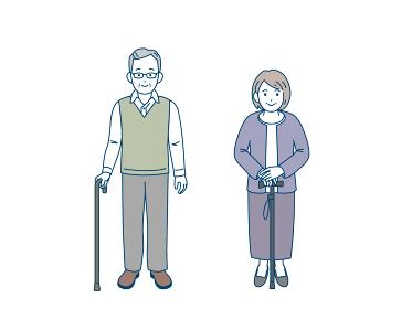 杖をつく 老夫婦 シニア 高齢者 男女 イラスト素材
