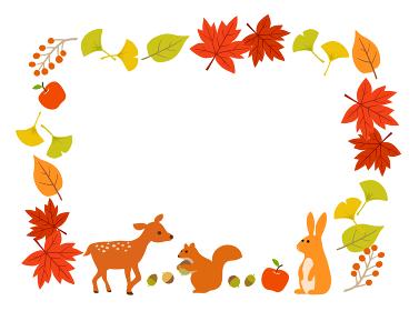 秋の紅葉と動物のフレーム