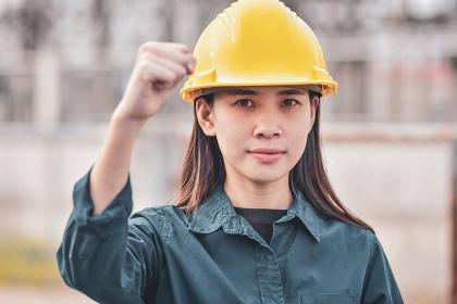 Asian Woman Engineering Yellow helmet hard hat safety