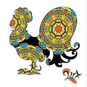 Rooster Image, symbol of 2017 on the Chinese calendar. Silhouette of cock, decorated with floral pattern. Element for New Year's design.  Isolated on white background.