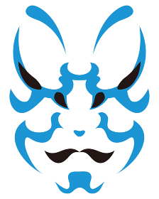 日本の伝統芸能 歌舞伎の顔のメイク 隈取り イラスト ベクター