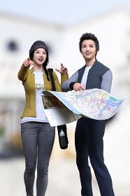 地図を広げたスタジャンを着た男の子とイエローのジャケットを着た女の子が目的地を探しながら歩いている