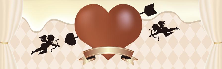 バレンタインデー バナー ホワイトチョコレート フレーム コピースペース 背景 イラスト素材