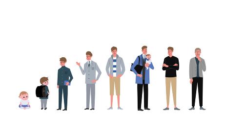 年齢別の男性 大人数の人々 イラスト