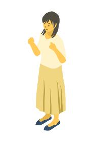 アイソメトリック図法で、両手で何かを持つ格好の女性のベクターイラスト