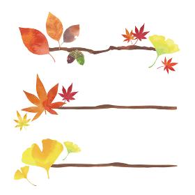 秋の小枝3種類セット 桜の葉、もみじ、イチョウの紅葉