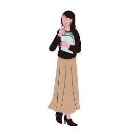 オフィスカジュアルな服装の書類を持った女性のイラスト