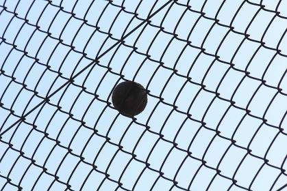 金網に食い込んだテニスボール