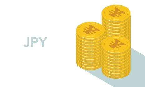 日本円のマークが刻印されたコインが積み上がるベクターイラスト