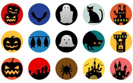 ハロウィンのイメージアイコン、カボチャ・コウモリ・幽霊・黒猫・城
