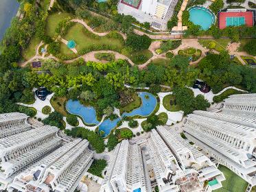 Tin Shui Wai, Hong Kong, 15 November 2017:-Top view of Hong Kong residential district