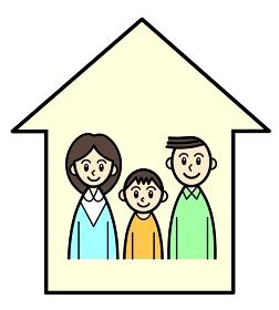 家の中の親子3人