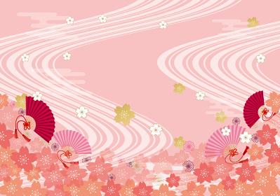 桜、背景、背景素材、油彩、水彩風、水彩、手描き、手書き、流線、線、流れ、川、花びら、満開、4月、花、