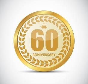 Template Logo 60 Years Anniversary Vector Illustration EPS10. Template Logo 60 Years Anniversary Vector Illustration