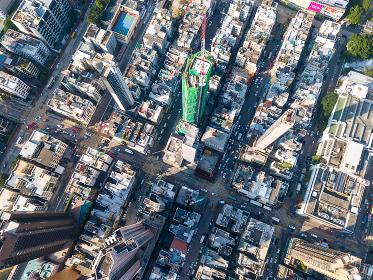 Kowloon city, Hong Kong, 11 November 2017:- Drone  view of Hong Kong city