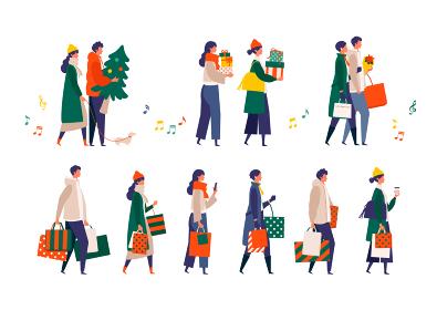 クリスマスを楽しむ人々のイラスト