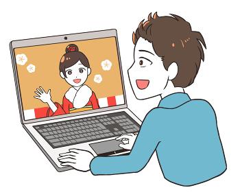 オンライン成人式を見る 振袖 男性