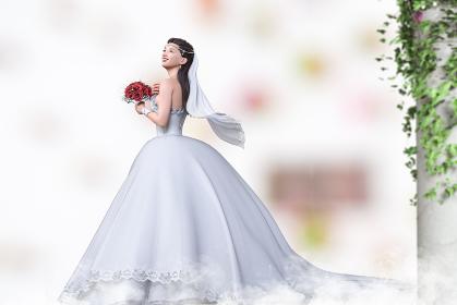 ブーケを持ち笑顔で上を見上げる純白のウエディングドレスを着た花嫁