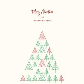 赤と緑色の木をクリスマスツリーに型どったグリーティングイラスト