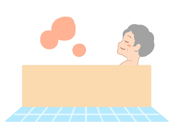 入浴で体が温まる 横向き 高齢女性(線無し)