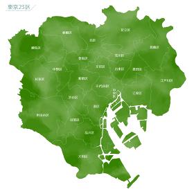 水彩風の地図 東京都 23区