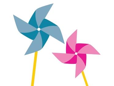 青とピンクの2つのかざぐるまのイラスト