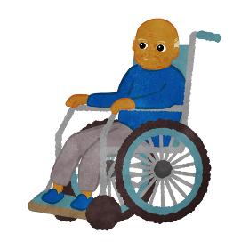 車いすに座っているおじいさん インド人バージョン