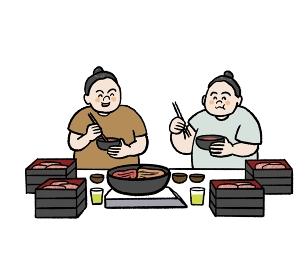 食事をするお相撲さんのイラスト