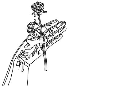 一輪の薔薇を持った手のシンプルな線画イラスト【はがきテンプレート】
