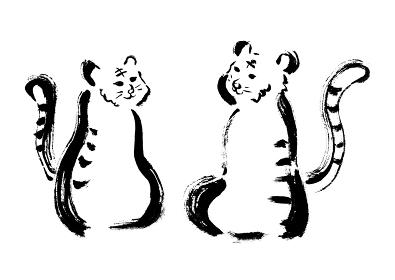トラ2頭の手描き筆書きイラスト
