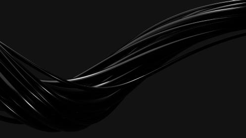 抽象的な黒色のウェーブの3dレンダリング背景画像