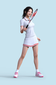 白いユニフォームを着た女性がテニスのラケットを持って立つ