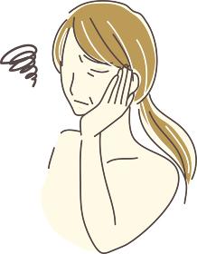 スキンケアの悩みを抱えているシニア女性のイラスト