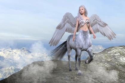 高い岩山に登り下界を背に天を見つめる大きな翼を持った神秘的なケンタウロス