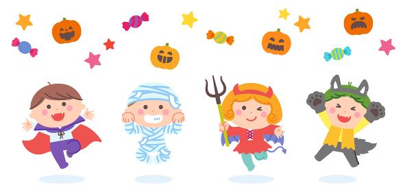 ハロウィンのおばけの衣装を着てジャンプする子どもたち
