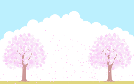 満開の桜の木と桜吹雪、青空と雲の背景、イラスト素材