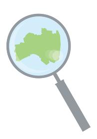 虫眼鏡ルーペ拡大鏡と福島県の詳細地図東北地方|都道府県別地図のイラスト ベクターデータ
