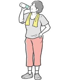 水分補給 中年女性 タオル