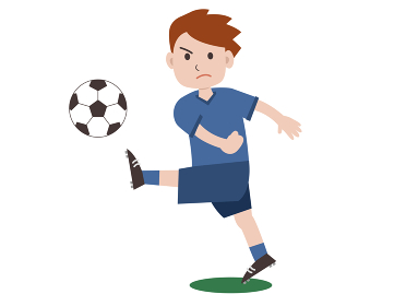ボールを蹴るサッカー選手