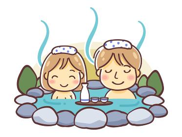 「温泉に入る男女・カップル・夫婦」のデフォルメイラスト(露天風呂)