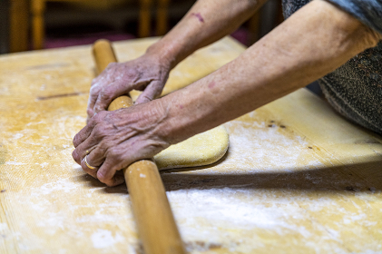detail roll out the dough with a rolling pin