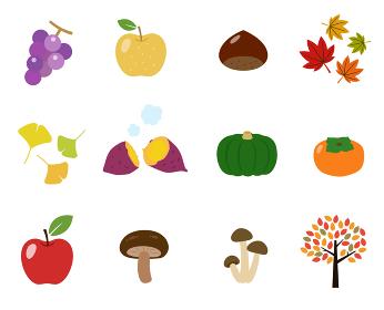 秋の味覚 食べ物のイラストセット