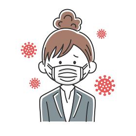 マスクをした日本人ビジネスウーマンのイラスト