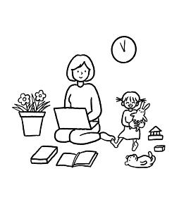 テレワークをする母親の線画イラスト