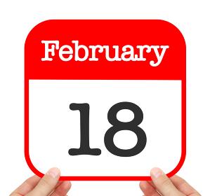 February 18 written on a calendar