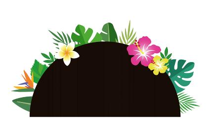 南国の花と葉、ボタニカル。半円の華やかな背景装飾