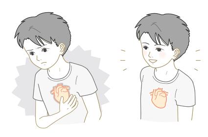 不健康な心臓、健康な心臓の男の子