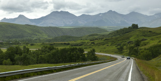 Scenic view of road passing through landscape, Pincher Creek No. 9, Southern Alberta, Alberta, Canada