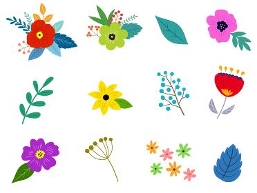 花と葉のイラストセット 春の植物による手描きテイスト