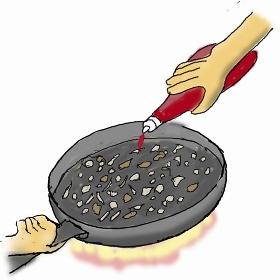 オムライスを作る-1  材料を合わせて炒めケチャップを加える